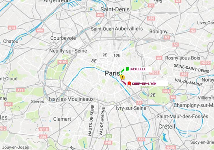 Métro Paris : itinéraire de Bastille à Gare de Lyon