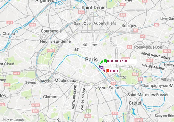 Métro Paris : itinéraire de Gare de Lyon à Bercy