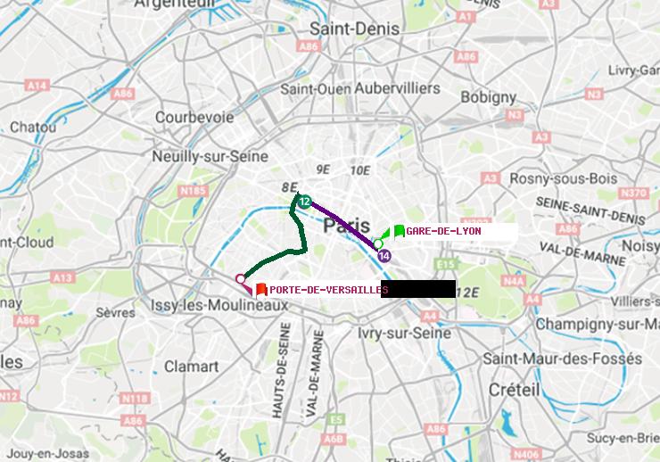 M tro paris itin raire de gare de lyon porte de versailles for Porte de versailles salon metro