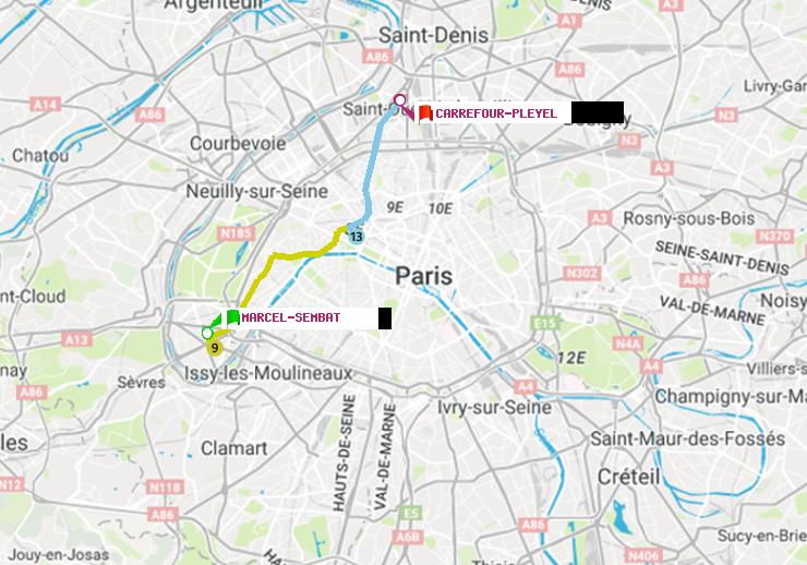 M tro paris itin raire de marcel sembat carrefour pleyel - Metro marcel sembat boulogne ...