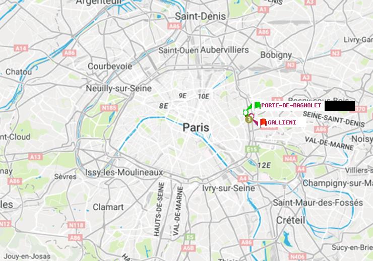 M tro paris itin raire de porte de bagnolet gallieni - Gare routiere paris gallieni porte bagnolet ...