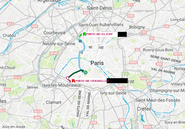 Metro Paris Itineraire De Porte De Clichy A Porte De Versailles