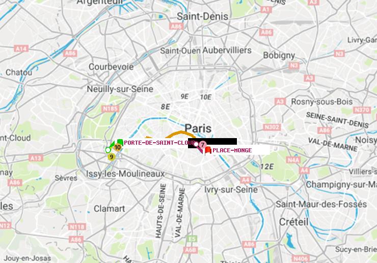Métro Paris : itinéraire de Porte de Saint-Cloud à Place Monge ...